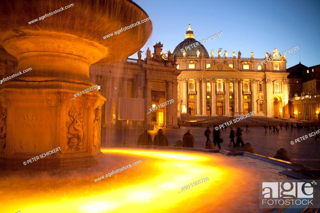 Stock Photo: fountain and the illuminated St  Peter's Basilica and St  Peter's Square at the blue hour, Rome, Italy, Europe.