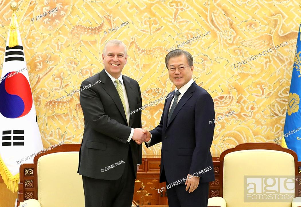 Stock Photo: May 16, 2019 - Seoul, SOUTH KOREA - May 15, 2019-Seoul, South Korea-In This Photos provide is President Office. Great Britain's Prince Andrew and South Korean.