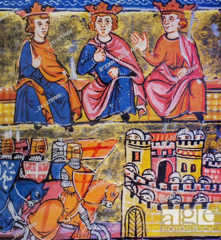 Stock Photo: Council of Acre and siege of Damascus, during the Second Crusade, 12th Century miniature. National Library of France.