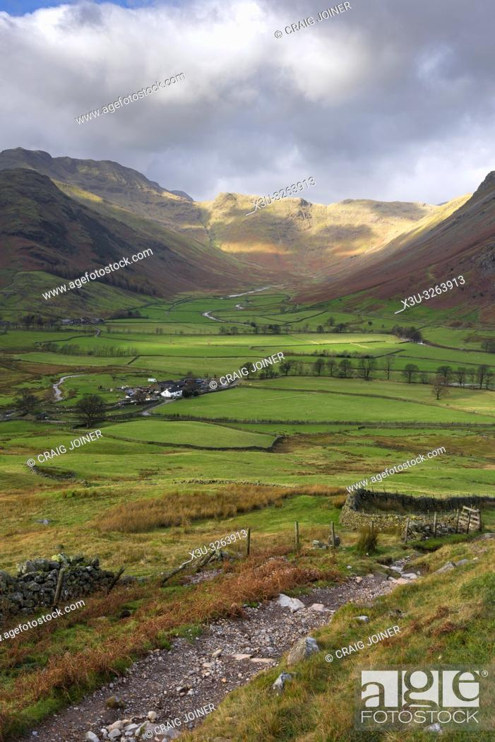 Stock Photo: Autumnal view of the Langdale Valley towards Bow Fell in the Lake District National Park, Cumbria, England.