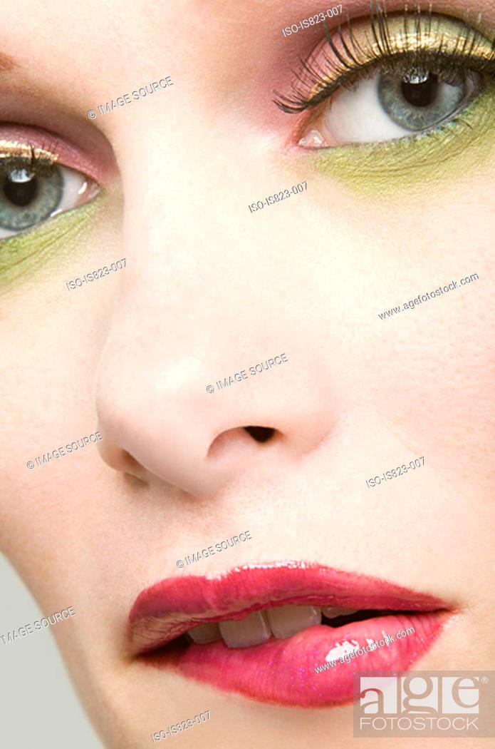 Stock Photo: Uncertain looking woman.