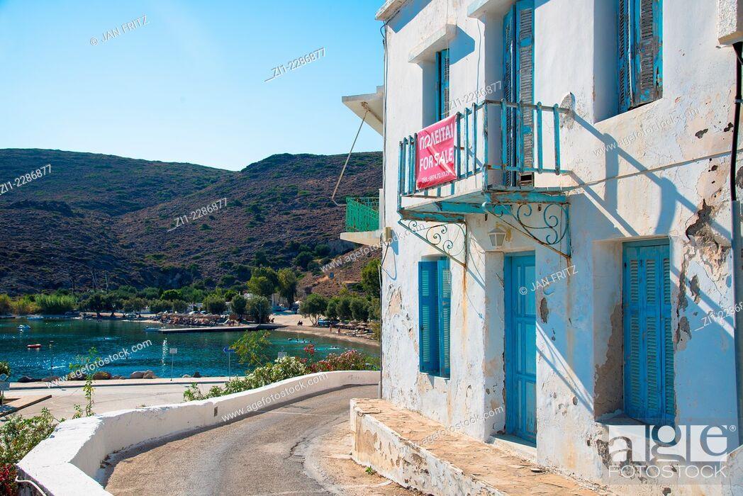 Stock Photo: house for sale at the coast, Adamantas, Milos, Greece.