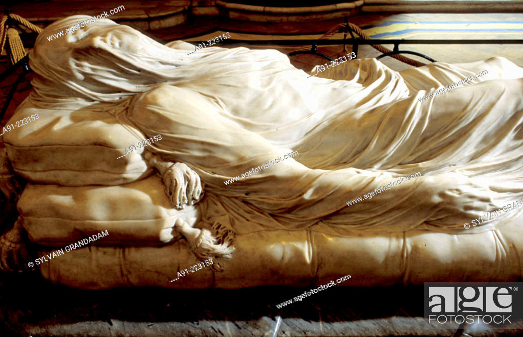 Stock Photo: Veiled Christ (1753) sculpture by Giuseppe Sammartino at interior of Cappella Sansevero de Sangri (decorated 1749-66). Naples. Italy.