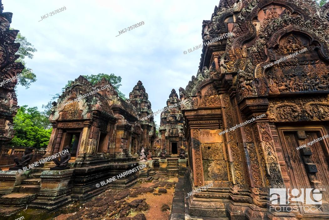 """Stock Photo: Banteay Srei or Banteay Srey (""""""""Citadel of the Women"""""""") is a 10th-century Cambodian temple dedicated to the Hindu god Shiva."""