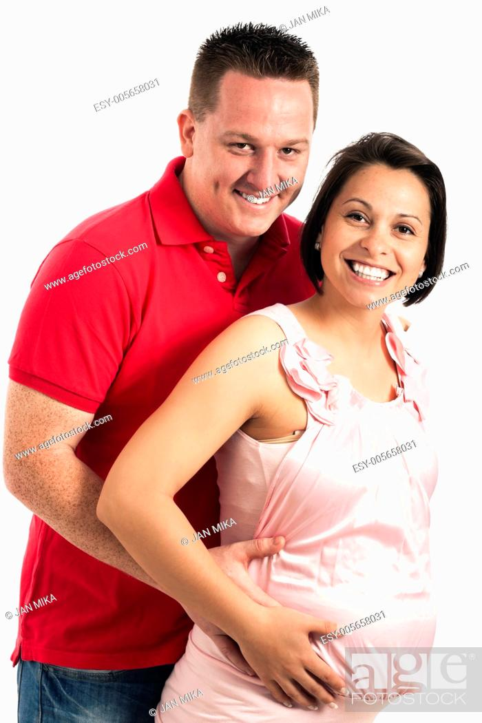 Stock Photo: Happy pregnant woman with her husband, isolated on white background.