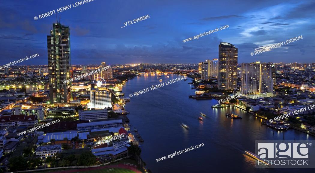 Stock Photo: Chao Phraya River and city skyline, Bangkok, Thailand.
