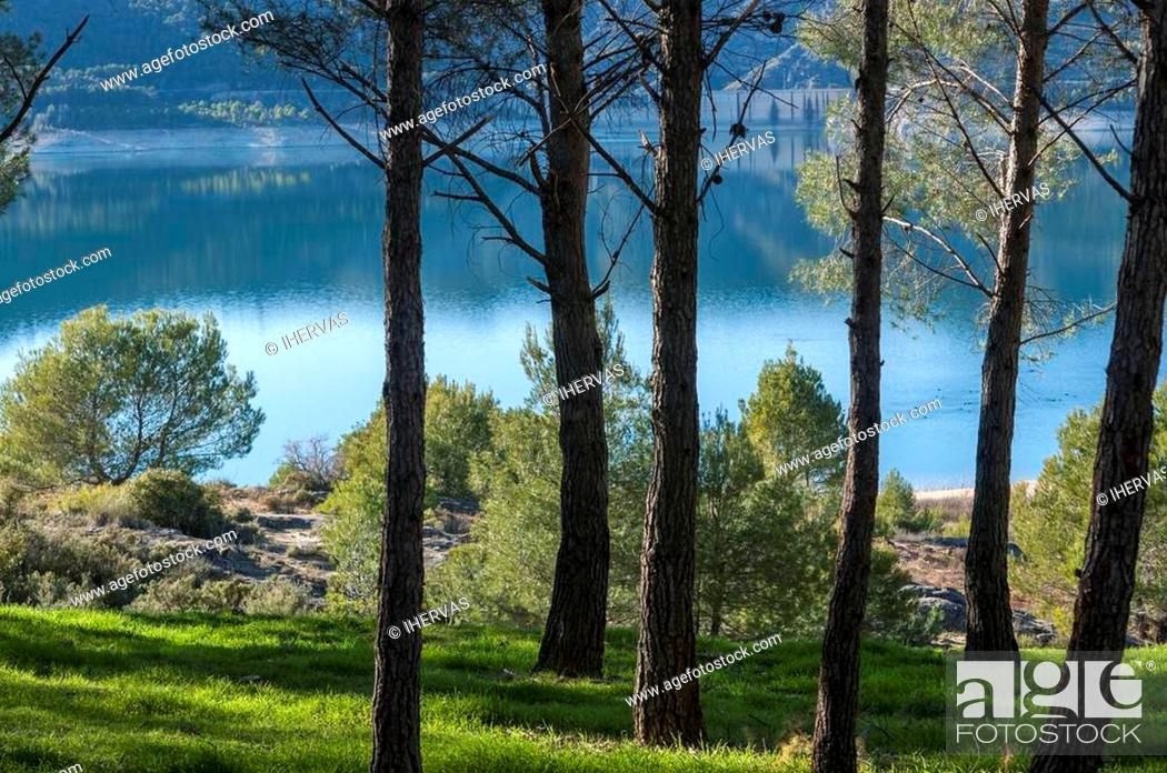 Stock Photo: Views of Buendia Reservoir, in the upper waters of the river Tagus, Cuenca, Castilla La Mancha, Spain. The surface area of the reservoir measures 8.