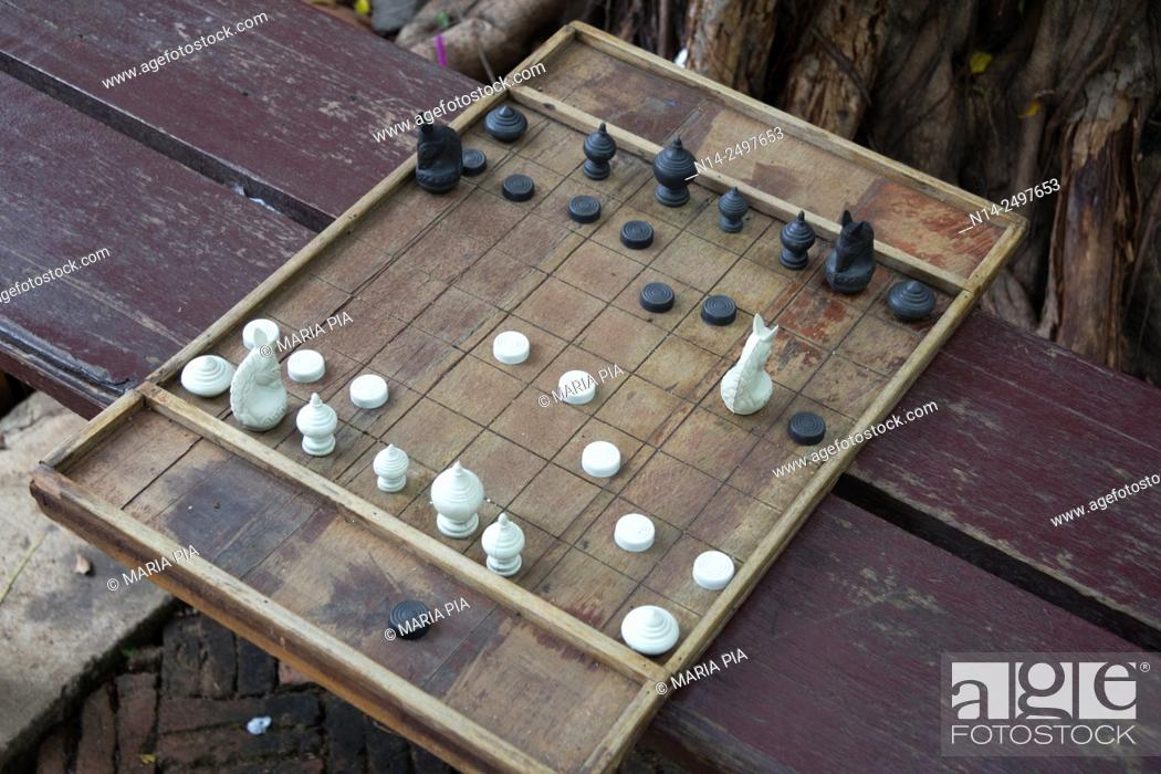 Stock Photo: Chess board in ancient city Ayutthaya, Thailand, Asia.