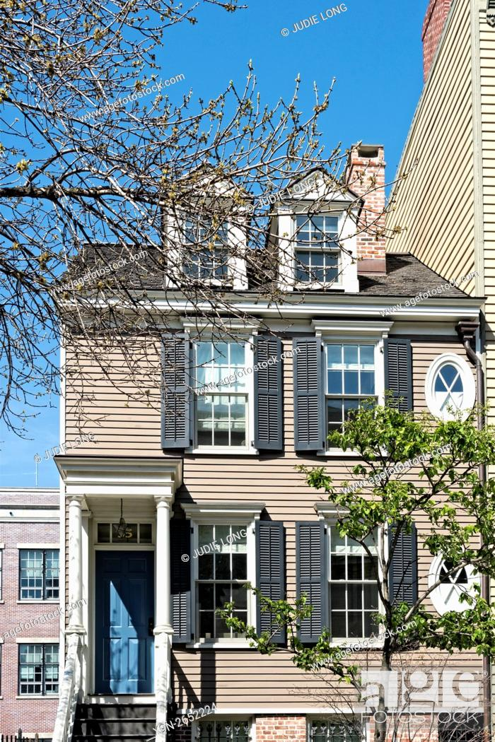 Stock Photo: Partial View of old Wood Frame Row House in Brooklyn Heights, New York.