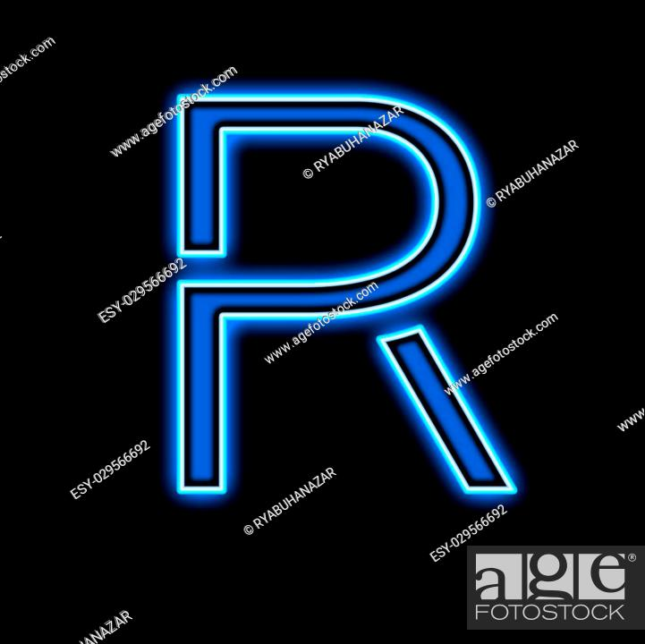 Stock Photo: Neon letter R blue, on a black background.