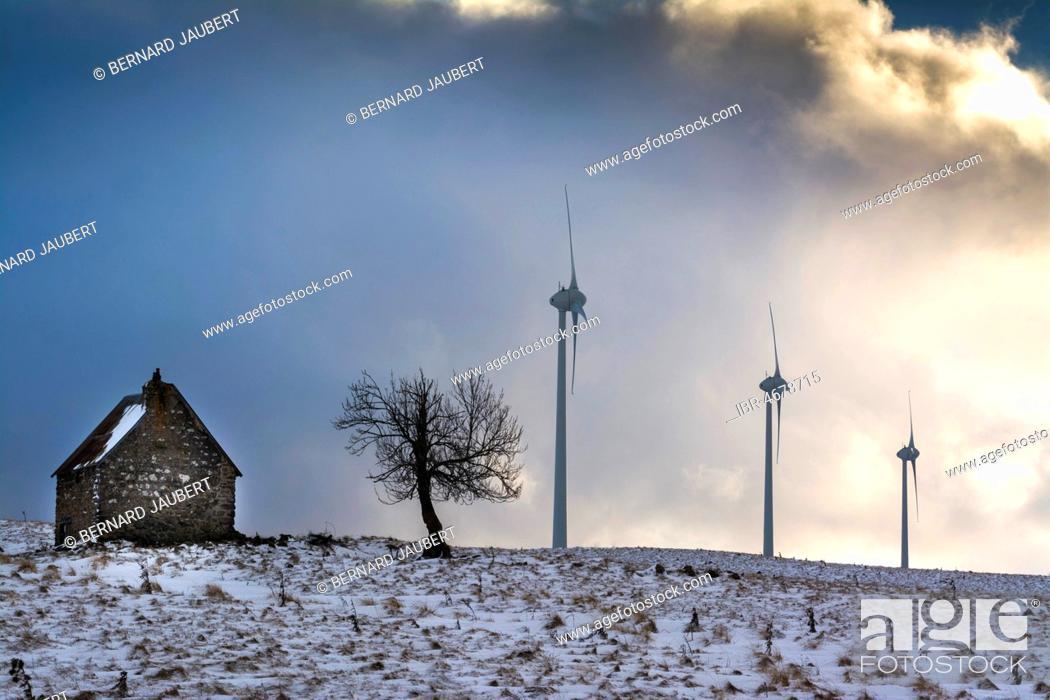 Stock Photo: Wind turbines of the Cezallier windfarm, Puy de Dome department, Auvergne, France.