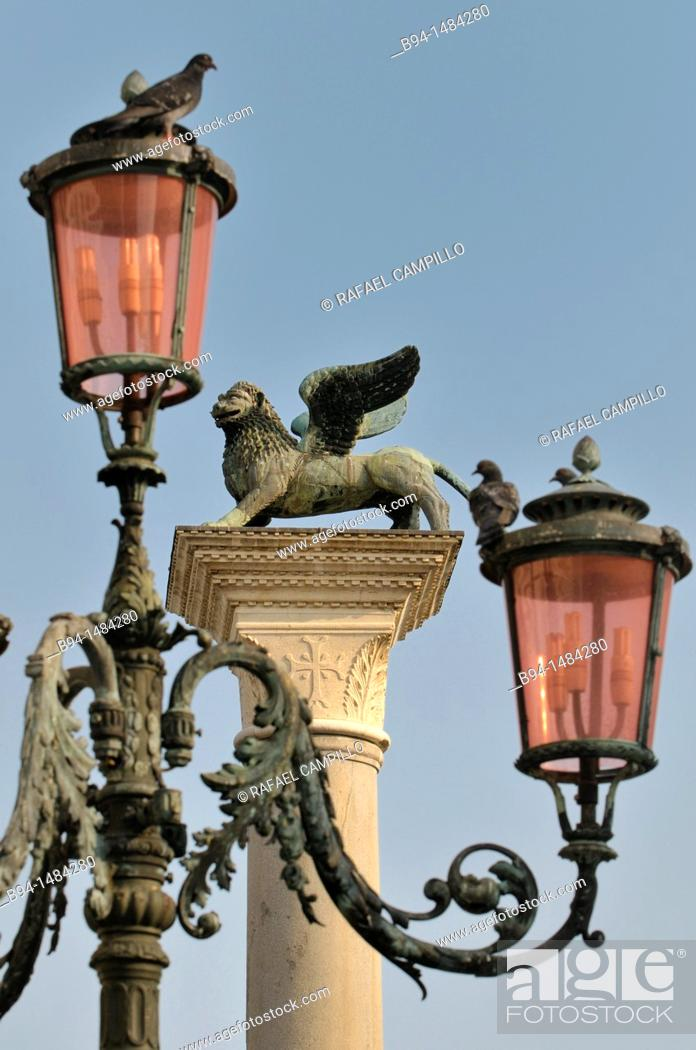 Column With A Statue Of Winged Lion Symbol Of St Mark Piazzetta Di
