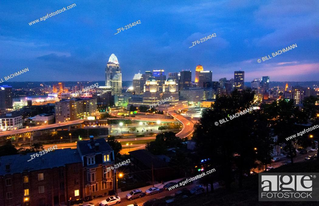 Stock Photo: Cincinnati Ohio night exposure from above at Mt Adams at The View in Midwest skyscrapers skyline.