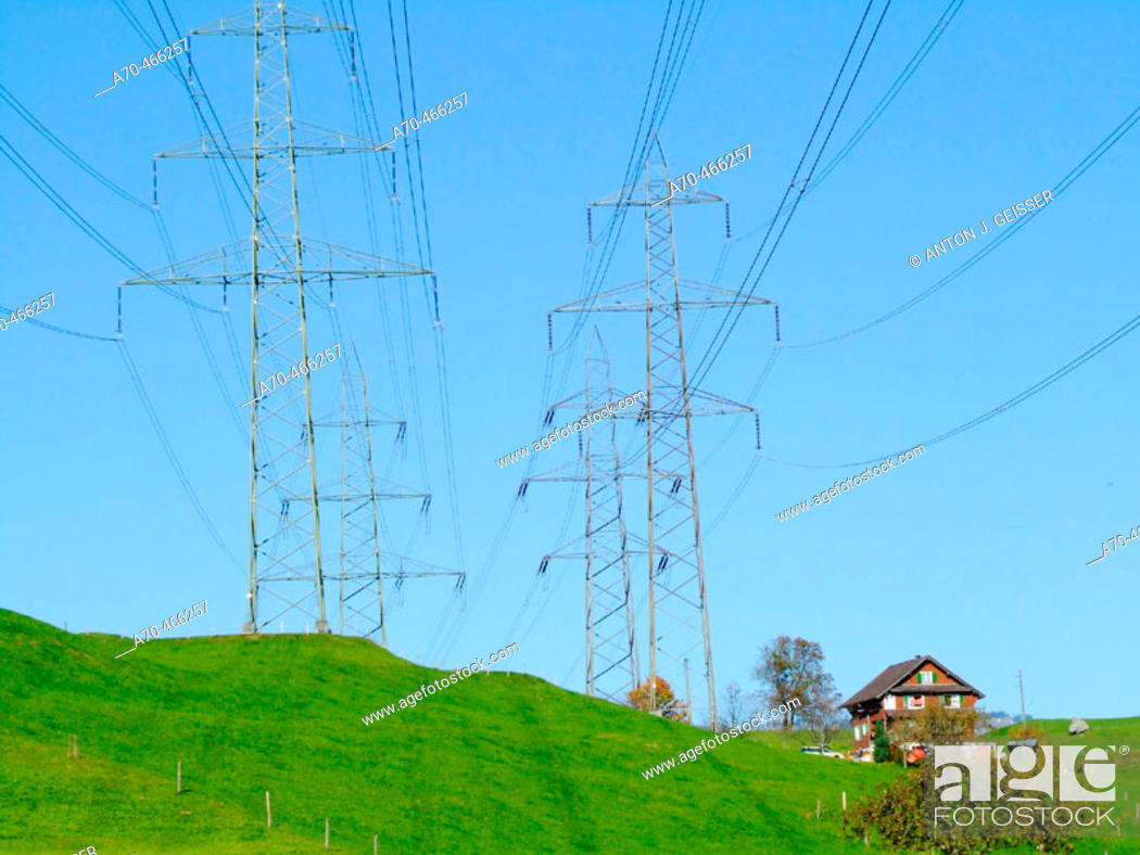 Stock Photo: Power lines. Switzerland.