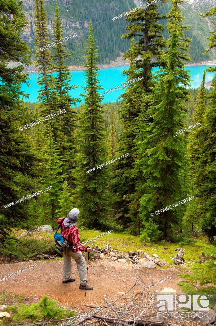 Stock Photo: Moraine Lake with Larch Valley Trail, Banff National Park, Alberta, Canada.