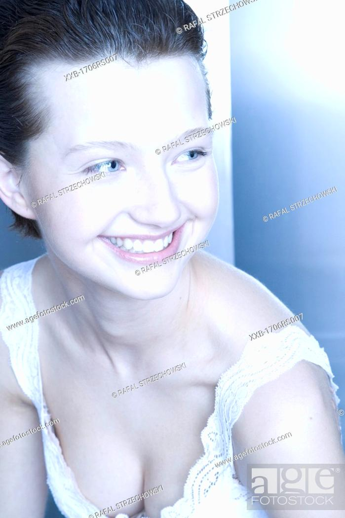 Stock Photo: young woman smilling.