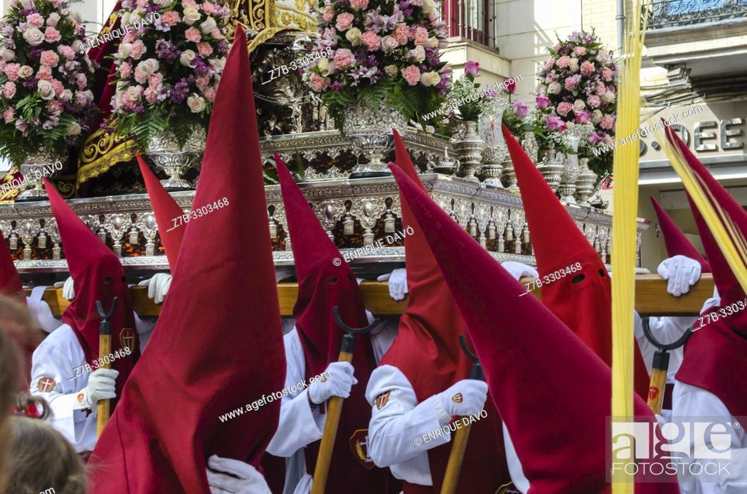 Stock Photo: Cuenca, Spain.14 th April, 2019. Parade procession Palm Sunday Hosanna on 14 th April 2019.