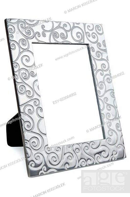 Stock Photo: Decorative empty photo frame on white background.