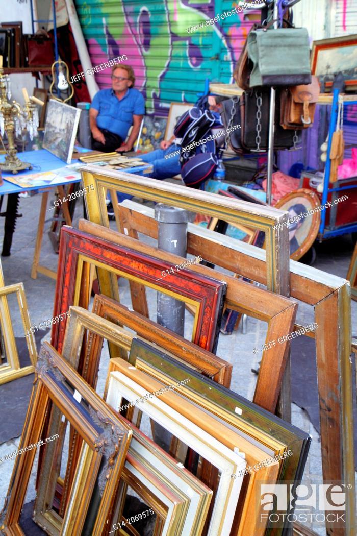 Stock Photo: France, Europe, French, Paris, 18th arrondissement, Les Marche aux Puces de Saint-Ouen, Puces Flea Market, marketplace, shopping, selling buying, used, items.