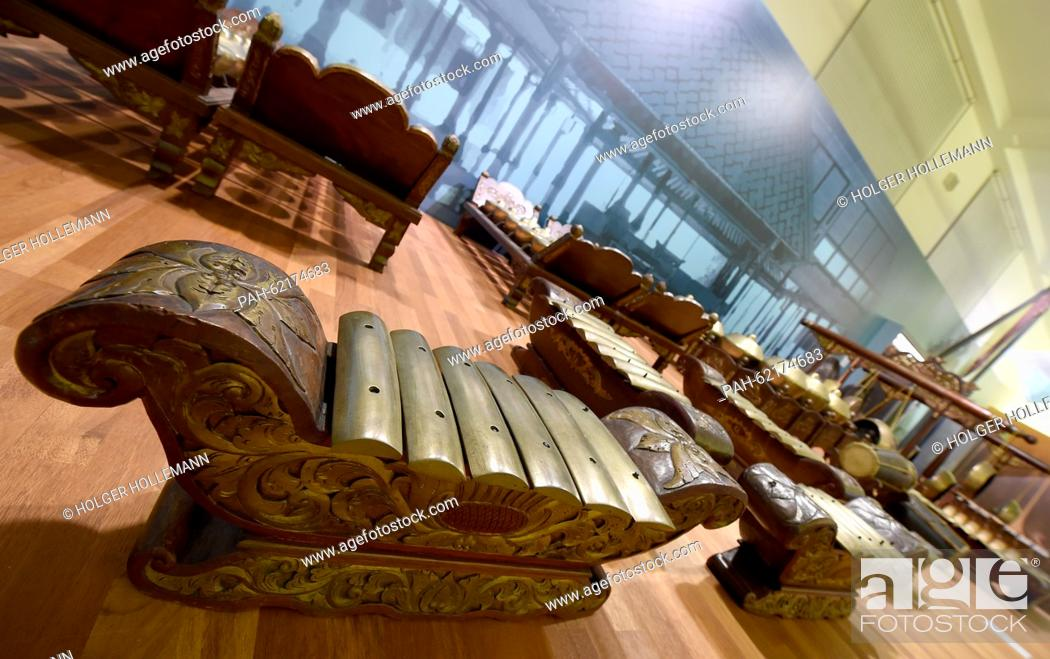 Stock Photo: An Indonesian Gamelan ensemble is on display along with some 3, 500 exhibits of the new permanent exhibition entitled 'Menschenwelten' (lit.