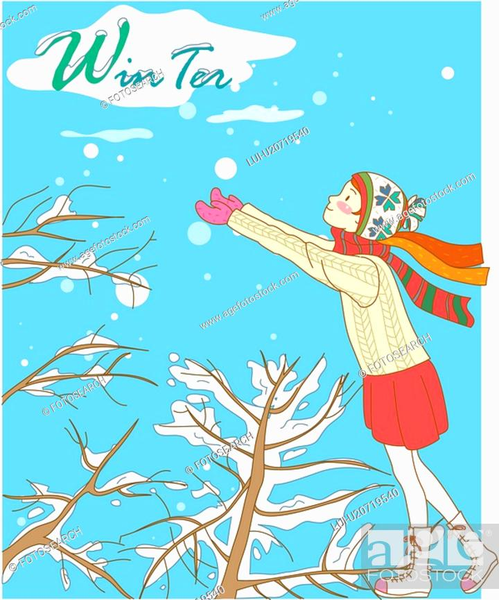 Stock Photo: tree, winter, snowing, snow, outdoors, hat, season.