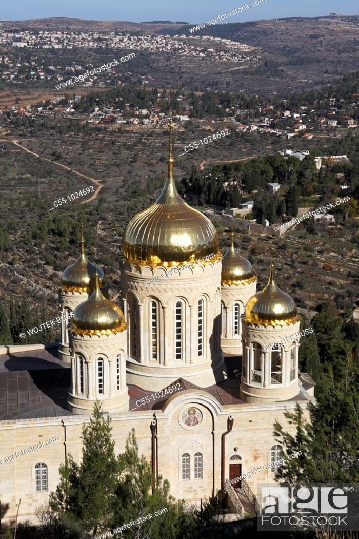 Stock Photo: Jerusalem, Israel, Ein Karem, Russian Gornenskiy Gorny Monastery, church of all Russian Saints.