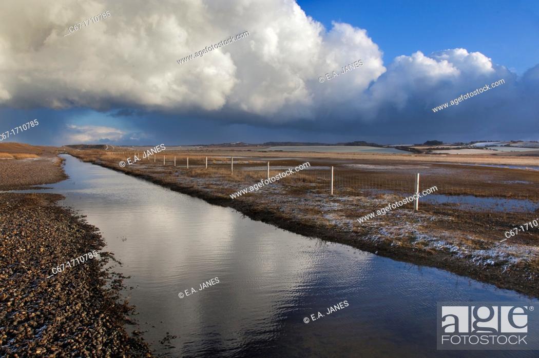Stock Photo: Creek at Salthouse Norfolk Winter.
