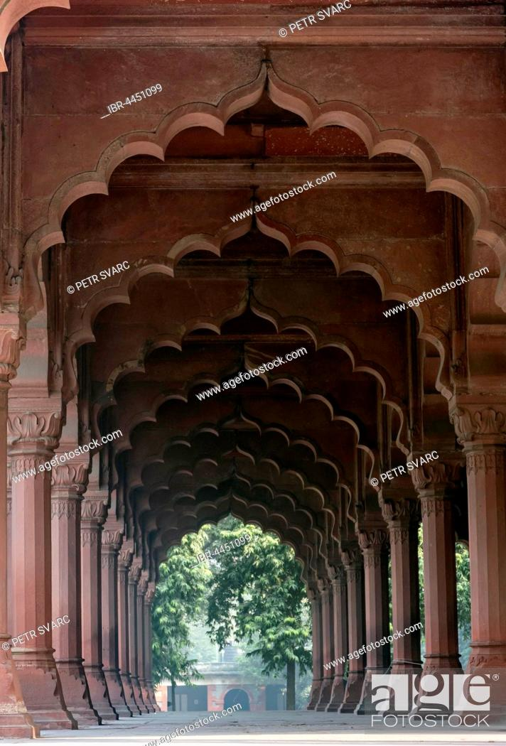 Stock Photo: Diwan-i-Aam hall, Red Fort, Old Delhi, Delhi, India.