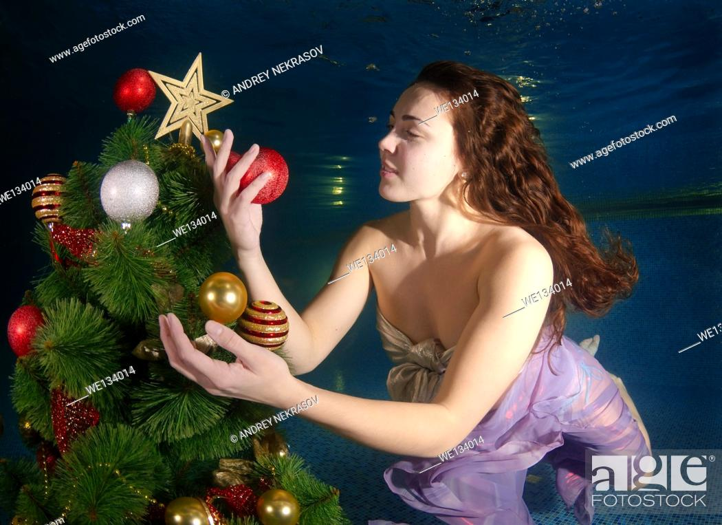 Stock Photo: Underwater Christmas, Odessa, Ukraine, Eastern Europe.