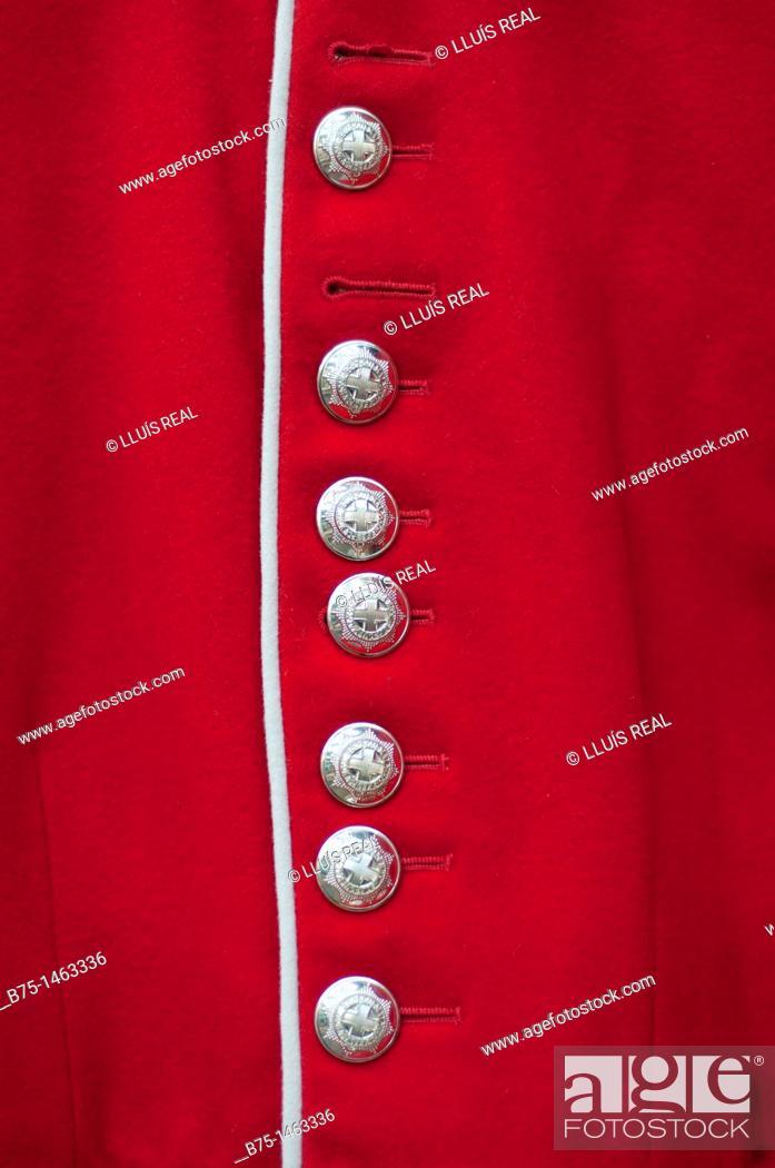 Stock Photo: Detail of a guardsman costume, British Army, London, England, UK.