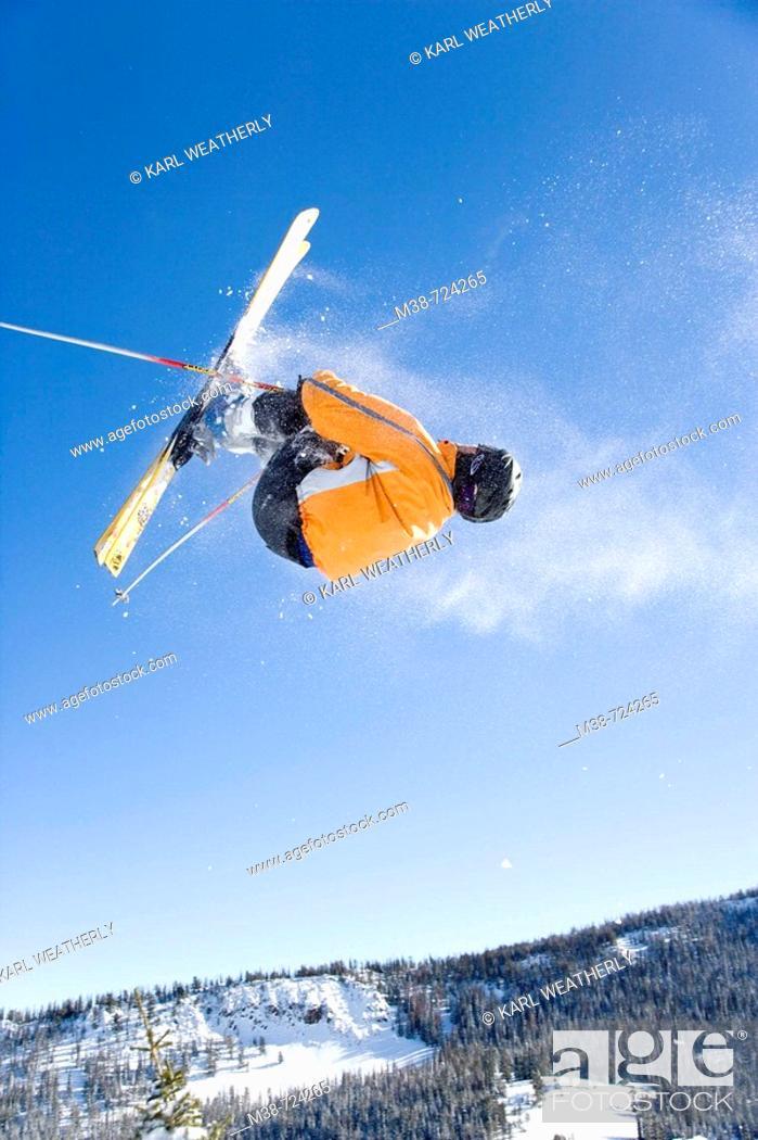 Stock Photo: Man in ski jump, Near Sun Valley, Idaho, USA.