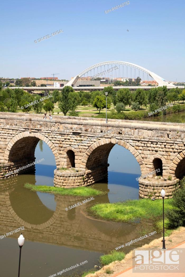 Stock Photo: The bridge crosses the Guadiana River. Its construction was linked with the foundation of the Emerita Augusta colony later: Merida in 25 BC by Emperor Augustus.