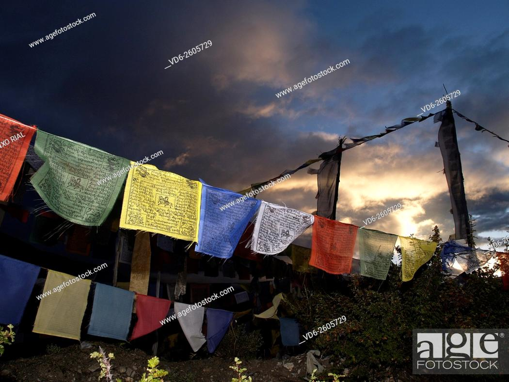 Stock Photo: Nepal. Himalayas. Annapurna Circuit. Thorong La Pass (5, 416 m) . Flags prayer.