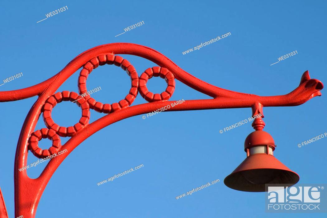 Stock Photo: Street lamp at waterfront, La Coruña. Galicia, Spain.