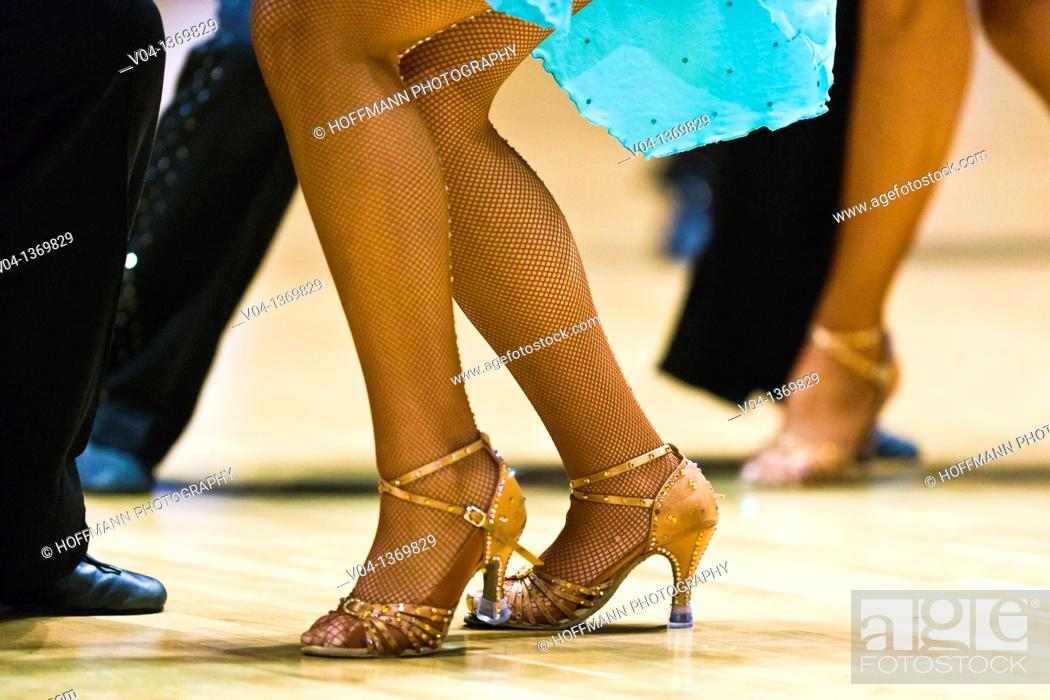 Stock Photo: Close up of a female dancer's legs at a dancing competition, Germany, Europe.