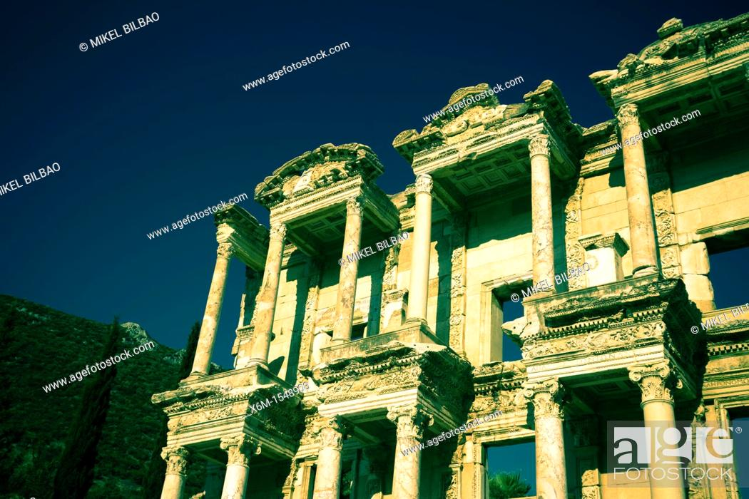 Stock Photo: Library of Celsus, Ruins of Ephesus  Izmir province  Anatolia, Turkey.