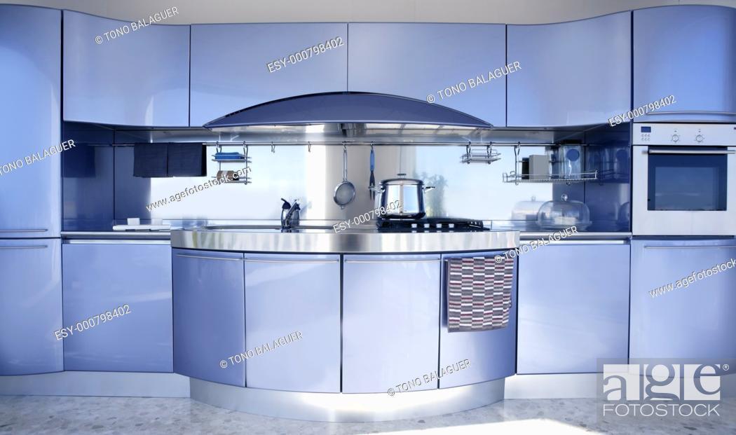 Stock Photo: Blue silver kitchen modern architecture decoration interior design.
