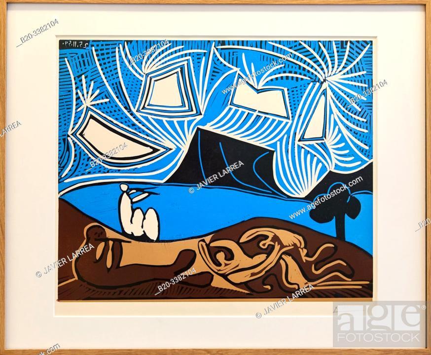 """Stock Photo: """"Couple et flûtiste au bord d'un lac"""", 1959, Pablo Picasso, Picasso Museum, Paris, France, Europe."""