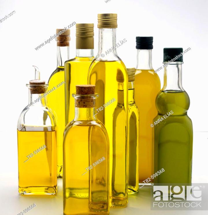 Stock Photo: Olive oil bottles.