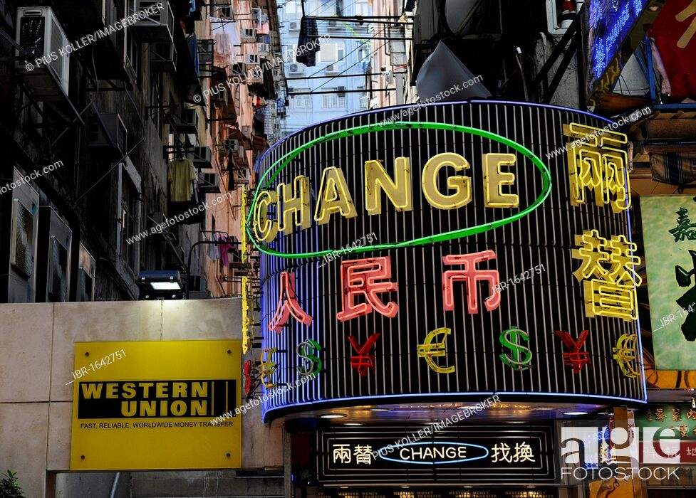 Stock Photo Adver For A Money Exchange Office And Western Union Hong Kong China Asia