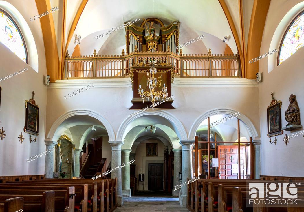 Stock Photo: interior view of the church of ?upnijska cerkev Marijinega vnebovzetja in Kranjska Gora, Slovenia.
