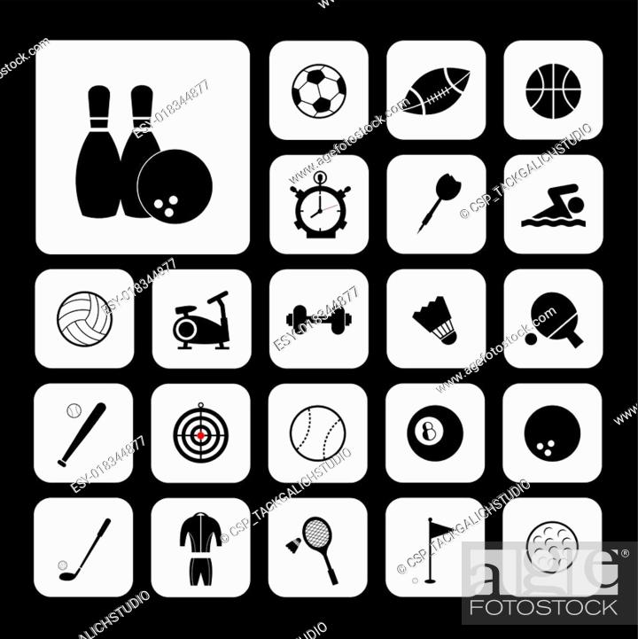 Stock Vector: Sports and exercise icons set.