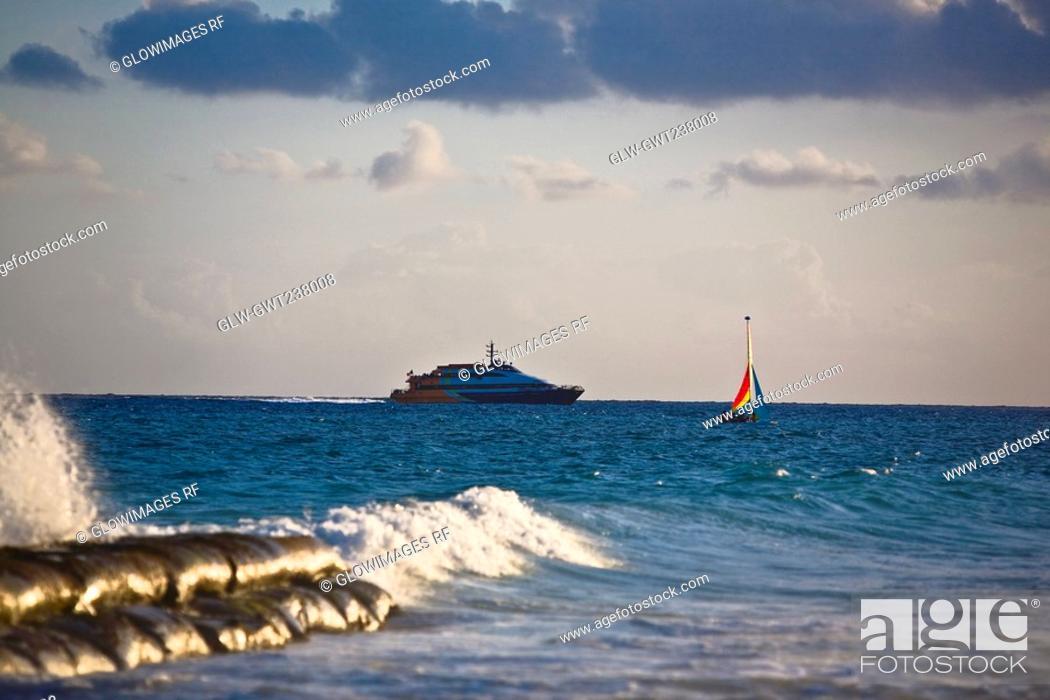 Stock Photo: Cruise ship in the sea, Playa Del Carmen, Quintana Roo, Mexico.