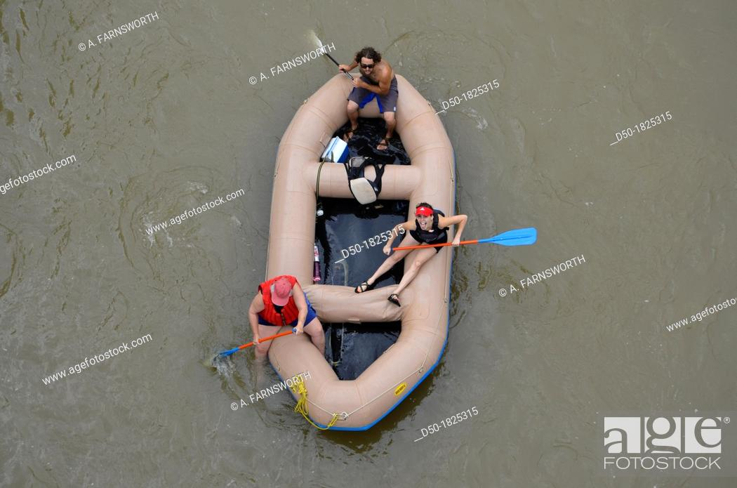 Stock Photo: GLENWOOD SPRINGS COLORADO USA Rafters on the Colorado river.