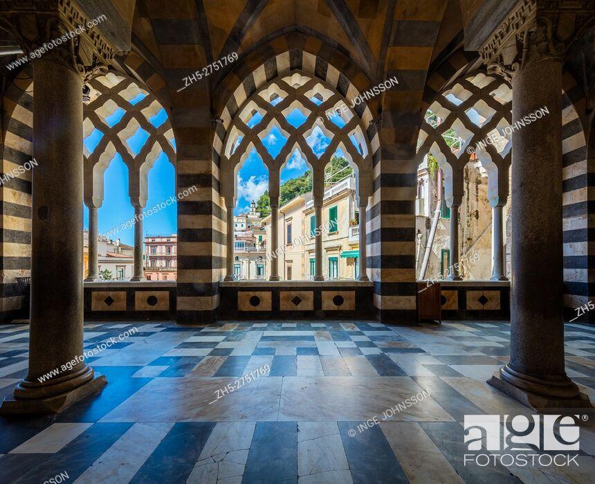 Stock Photo: Amalfi Cathedral (Italian: Duomo di Amalfi; Cattedrale di Sant'Andrea) is a 9th-century Roman Catholic cathedral in the Piazza del Duomo, Amalfi, Italy.