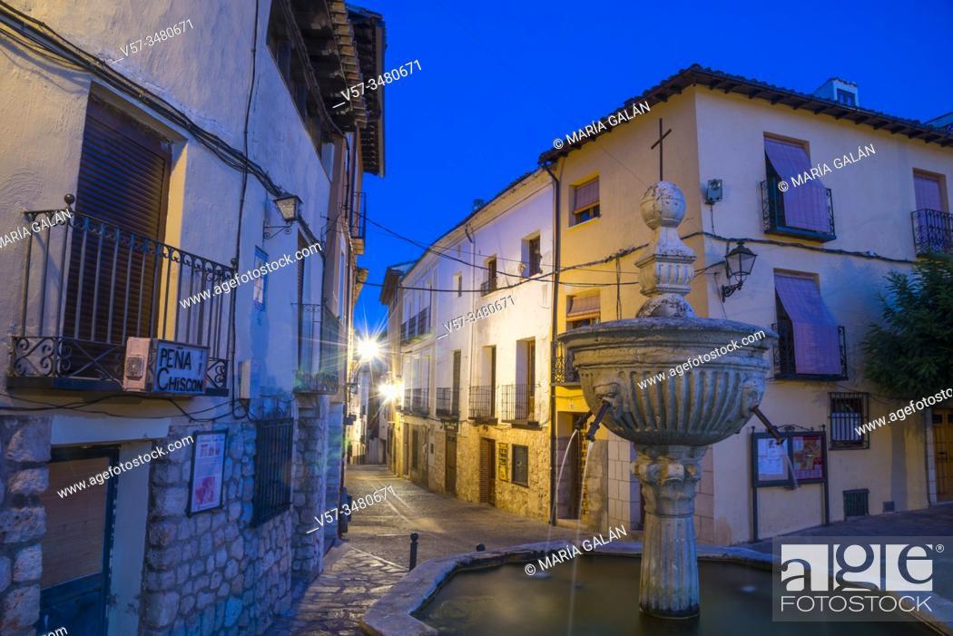 Stock Photo: Cuatro Caños Square, night view. Pastrana, Guadalajara province, Castilla La Mancha, Spain.