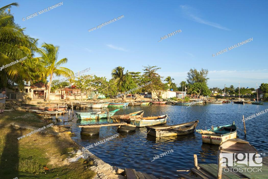 Stock Photo: Caleton, Playa Larga, Cuba. Small boats in the harbour.