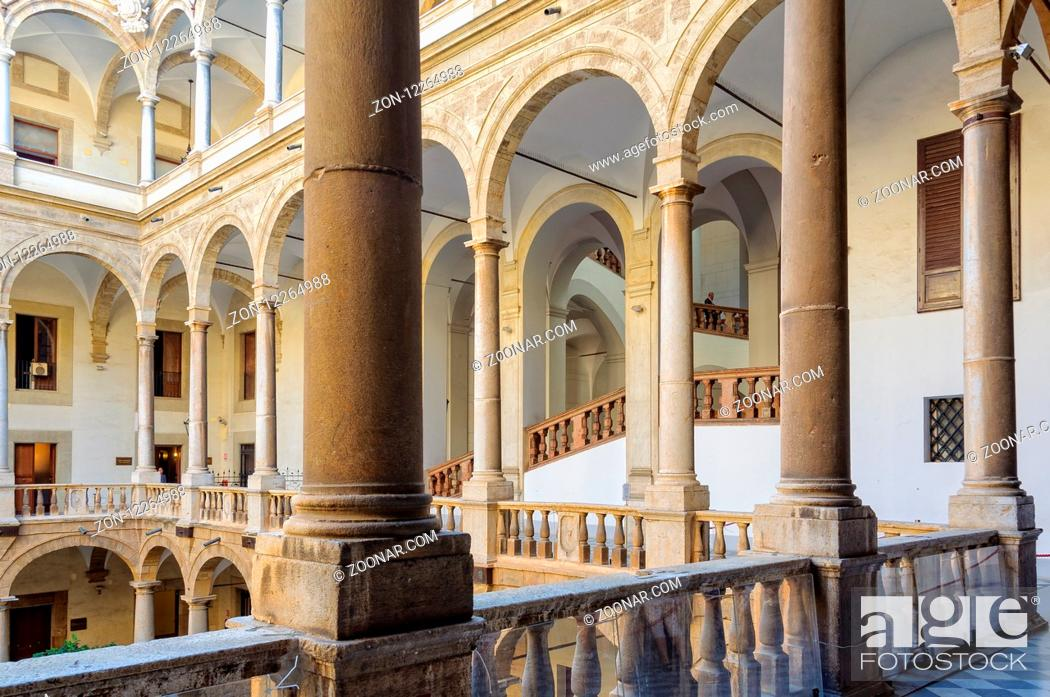 Stock Photo: The loggia of the Maqueda Courtyard of Norman Palace (Palazzo dei Normanni) - Palermo, Sicily, Italy, 20 October 2011.
