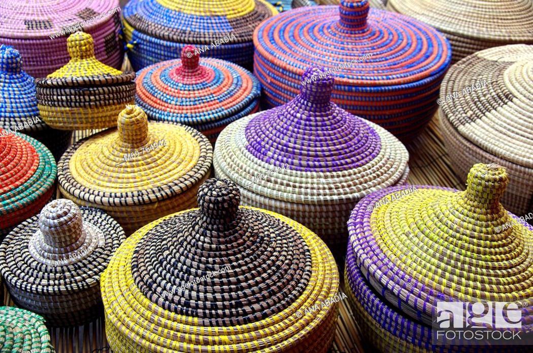 Stock Photo: Wickerwork for sale at market, Santanyi. Majorca, Balearic Islands, Spain.