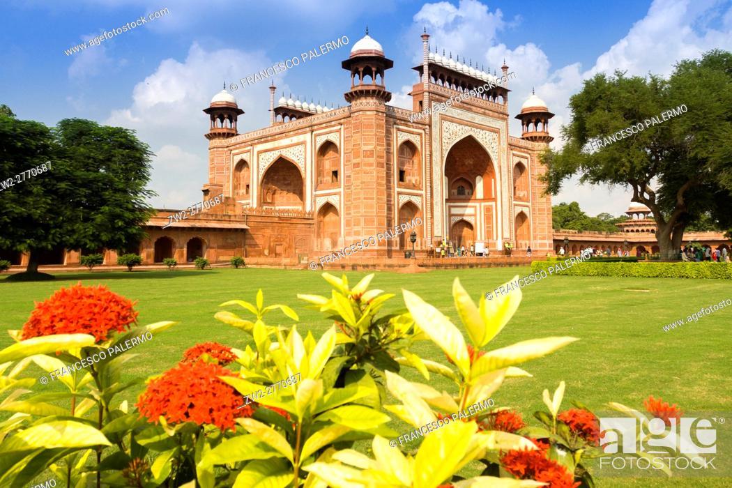 Stock Photo: Principal gate of Taj Mahal. Agra, Uttar Pradesh. India.